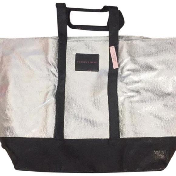 Victoria's Secret Handbags - Victoria's Secret Silver & Black Tote Bag